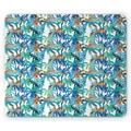 Palm Leaf Mouse Pad, Tropical Summer Print with Palm Abstract Nature Pattern Fantasy Dream, Rectangle Non-Slip Rubber Mousepad, Blue Mint Green Orange, by Ambesonne