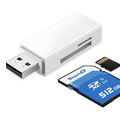 SD Card Reader Portable USB 3.0 Dual Slot Flash Memory Card for SDXC, SDHC, SD, MMC, RS-MMC, Micro SDXC, Micro SD, Micro SDHC Card WHITE