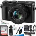 "Panasonic Lumix LX100 II Large Four Thirds 21.7 MP Multi Aspect Sensor 24-75mm Leica DC Vario-SUMMILUX F1.7-2.8 Lens Wi-Fi and Bluetooth Camera with 3"" LCD, Black (DC-LX100M2) - Basic Bundle"