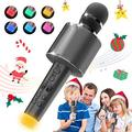 BLAVOR Bluetooth Karaoke Microphone Wireless for Kids Adults, Magic Sing Portable Handheld Speaker Machine with LED Lights Home Party Birthday Toys Singing for Kids(Gray)