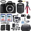 Canon EOS 80D 24.2MP DSLR Digital SLR Camera with Canon EF-S 18-55mm is STM Lens + 2pc Commander 32GB Memory Cards + LED Light Kit + Deluxe Camera Case + Shotgun Microphone Accessory Bundle