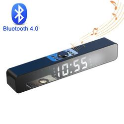 AUPERTO USB Wireless Bluetooth Mini Speaker With Clock, Sound Bar Dual Speakers for Computer Smartphone Desktop Laptop PC, TV Aux Input