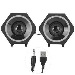 Tebru Desktop Speakers,SADA Computer PC Speakers Laptop Desktop Small Audio Speaker USB Wired Subwoofer V‑138,Small Speakers