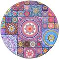 BOSOBO Mouse Pad, Round Mandala Mouse Mat, Beautiful Flowers Mouse Pad, Small Circular Floral Mousepad, Durable Stitched Edges, Non-Slip Rubber Base, Cute Mouse Pad for Women & Girls, 7.9 x 7.9 Inch