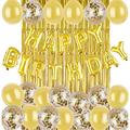 Fansuny Gold Birthday Decorations Party Supplies-Gold Confetti Balloons-(36 Piece) Happy Birthday Balloons-Gold Balloons-Gold Fringe Curtain Backdrop