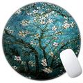 Mouse Pad, Round Cute Mouse Mat, Non-Slip Rubber Base Mousepad with Stitched Edge, Mini Funny Unique Design Mouse Pad for Desktop Computer Laptop PC,Home, Office (Green Van Gogh Painting)