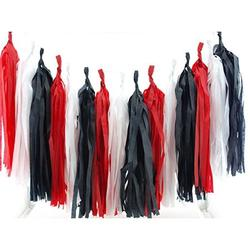 Las Vegas Paper Tassels, Casino Night Party Garland (Set of 15) - Black & Red Las Vegas Birthday Party Supplies, Playing Cards & Poker Night Photo Backdrops, Casino Royale Party Garland Decorations