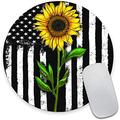Round Mouse Pad, Sunflower American Flag Mouse Pad, Fashion Cute Pattern Design Mouse Mat, Non-Slip Rubber Base Portable Mousepad, Circular Waterproof Mouse Pad, Small Size for Office Home Travel