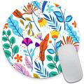 Colorful Flowers Round Mouse Pad,Beautiful Floral Mouse Mat, Cute Mouse Pad with Design, Non-Slip Rubber Base Mousepad, Waterproof Office Mouse Pad, Small Size 7.9 x 0.12 Inch