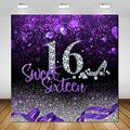 COMOPHOTO 6x6ft Purple Sweet 16 Backdrop for Girls Birthday Party Decorations High Heel Diamond Princess Girl's 16th Birthday Party Sweet Sixteen Photography Background Photo Booth Supplies