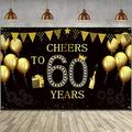 Happy 60th Birthday Party Backdrop Banner, Extra Large Fabric Black Gold Cheers to 60 Years Backdrop Anniversary Decoration Background Banner for Men Women 60th Birthday Party Supply, 72.8 x 43.3
