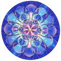 BOSOBO Mouse Pad, Round Mandala Mouse Mat, Small Circular Mousepad with Designs, Non-Slip Rubber Print Mouse Pad with Stitched Edges, Cue Office Mouse Pad for Girls and Women, 7.9 x 7.9 Inch, Blue