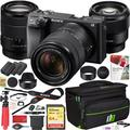 Sony a6400 4K Mirrorless Camera ILCE-6400M/B with 18-135mm F3.5-5.6 and 85mm F1.8-22 Prime 2 Lens Kit and Deco Gear Travel Case Photography Maintenace Set 2x Extra Battery Essential Bundle