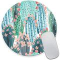 Round Mouse Pad, Watercolor Cactus Mouse Pad, Cute Succulent Plant Mouse Mat, Non-Slip Rubber Base Portable Mousepad, Circular Waterproof Girly Mouse Pad for Girl, Small Size for Office Home Travel