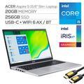 "Acer Aspire 5 Slim Laptop, 15.6"" FHD IPS, Intel Core i5 11th Gen 1135G7, Intel Iris Xe Graphics, 20GB RAM, 256GB SSD, Backlit KB, Keypad, WebCam, Ethernet, USB-C, Mytrix HDMI Cable, Win 10"
