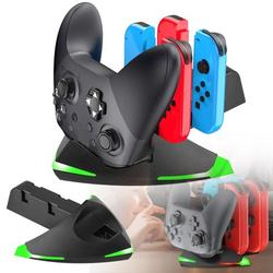 Charging Station Fit for Nintendo Switch Joy Con Pro Controller Gamepad, TSV Switch Controller Charger Dock w/ LED Charging Indicators, 5 in 1 Controller Charging Dock for Nintendo Switch