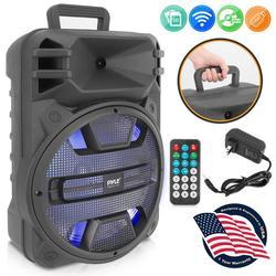 Pyle PPHP1243B - 12'' Portable PA Speaker System - Karaoke Speaker with Latest DJ LED Lights, USB/FM/BT/Aux/Remote Control/Mic Inputs, Built-in (800 Watt)