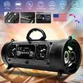 Portable Wireless Bluetooth Speaker Boombox Bass Stereo Cylinder SD FM Radio AUX (Black)