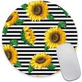 Round Mouse Pad, Sunflower Mouse Pad, Black and White Stripes Pattern Design Mouse Mat, Non-Slip Rubber Base Portable Mousepad, Circular Waterproof Mouse Pad, Small Size for Office Home Travel