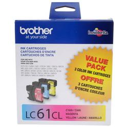 Brother Genuine Standard Yield Color Ink Cartridges, LC613PKW, Replacement 3 Pack of Color Ink, Includes 1 Cartridge Each of Cyan, Magenta & Yellow, Page Yield Up To 325 Pages/Cartridge, LC61