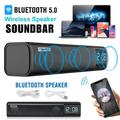 Bluetooth Sound Bar, TSV Sound Bar for TV, 3D Surround Sound Soundbar Built-in Subwoofer, Wired & Wireless Bluetooth 5.0 Speaker for TV/PC, 2x5W Mini Strip Speaker w/Noise Cancelling Mic for HD Call