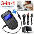 EEEkit Bluetooth Transmitter and Receiver, 3-in-1 Wireless Bluetooth 5.0 Adapter with Display Screen, Low Latency Wireless 3.5mm Audio Adapter for TV, PC, Headphones, Speaker, Car/Home Stereo System