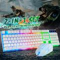 Mechanical Gaming Keyboard, Rainbow Backlit Ultra-Slim Wired USB Keyboard,Splash-Proof,Mechanical Wired Keyboard Display RGB Backlit Ideal for Windows Gaming