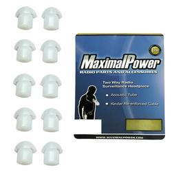 MaximalPower Clear Silicone Earpiece Ear Tip Motorola Kenwood Two-Way Radio - 10 Pack