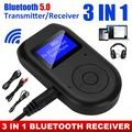 Bluetooth 5.0 Transmitter Receiver, 3-in-1 Car Audio Wireless Adapter w/ Display Screen, Handsfree Call, Low Latency Portable Bluetooth Adapter for TV Wired Speaker Headphones Car Home Stereo System
