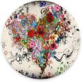 """Round Mouse Pad, Colorful Heart Mouse Pad, Gorgeous Flower Tattoo Gaming Mouse Mat Waterproof Circular Small Mouse Pad Non-Slip Rubber Base MousePads for Office Home Laptop Travel, 7.9""""x0.12"""" Inc"""