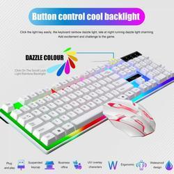 Yinrunx Mechanical Keyboard Gaming Keyboard Gaming Key Keyboard PC Gaming Keyboards Combo Mechanical Keyboard 2.4G Wired Keyboard and Mouse Combo Backlit Glowing Keyboard Silent Gaming Mouse Set White
