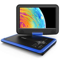 """ieGeek 11.5"""" Portable DVD Player with SD Card/USB Port, 5 Hour Rechargeable Battery, 9.5"""" Eye-protective Screen, Support AV-IN/ OUT, Region Free, Blue"""