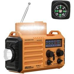 NOAA Weather Radio,Hand Crank Radio Solar Rechargeable,5000mAh Battery Operated Radio,AM/FM/Shortwave Radio Portable,Emergency Radio,USB Charger,Flashlight,Camping lamp for Outdoor Survival Gear Kits