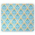Yellow and Blue Mouse Pad, Diamond Shaped Triangle Geometric Fractal Mosaic Traditional Motif, Rectangle Non-Slip Rubber Mousepad, Aqua Teal Marigold, by Ambesonne