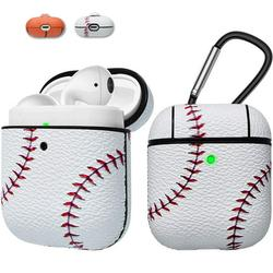 Apple Airpods Case Skin, Takfox AirPods Accessories Case for Airpods 1 & 2 Portable Protective Anti-Scratch PU Leather Cover Skin for Airpods 1 & AirPods 2 [Front LED Visible] w/ Keychain - Baseball