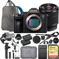 Sony a7III Full Frame Mirrorless Interchangeable Lens Camera with 28-70mm Bundle with DJI Ronin-S 3-Axis Gimbal Handheld Stabilizer Essentials Kit, 128GB Memory Card, Battery and Backpack and Charger