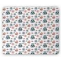 Farm Animal Mouse Pad, Repetitive Pattern of Cartoon Pigs, Rectangle Non-Slip Rubber Mousepad, Blue Grey Blush, by Ambesonne