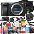 Sony a6400 4K Mirrorless Camera ILCE-6400/B (Black) Body Only with 64GB Memory Deco Gear Travel Case Filter Kit & Extra Battery Power Editing Bundle