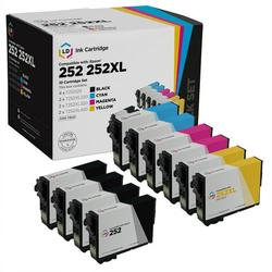 Ld remanufactured replacements for 252 & 252xl: 4 standard yield black, 2 high yield cyan, 2 high yield magenta, 2 high yield yellow for wf-3620, wf-3640, wf-7110, wf-7210, wf-7610, wf-7710