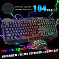 Gaming Keyboard and Backlit Mouse Combo, USB Wired Backlit Keyboard w' Multimedia Key, Colorful Breathing Light Gaming Keyboard Mouse Set for Laptop PC Computer Game and Work