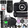 Canon EOS 5D Mark IV DSLR Camera with Sigma70-300mm Lensand 50mm Lens + 500mm Preset Telephoto Lens + 64GB Memory + Camera Case + 2 Batteries + Power Battery Grip + Professional Accessory Bundle