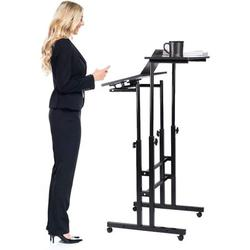Mobile Stand Up Desk, Height Adjustable Sit & Stand Desk Rolling Table Laptop Cart with Tower Holder and Lockable Wheels, Black,Antique Oak