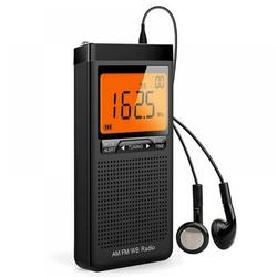 Topwoner MD838 Portable Display External Speaker Dual Band Mini AM FM Radio,Emergency Pocket NOAA AM FM Weather Radio