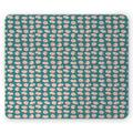 Pigs Mouse Pad, Repeated Cartoon Layout of Piglets Farm Country Snorting Creatures, Rectangle Non-Slip Rubber Mousepad, Rose and Pale Petrol Blue, by Ambesonne