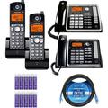 Motorola ML25254 2-Line Business Phone with Digital Answering System Bundle with ML25260 Corded Desk Phone, 2-Pack of ML25055 DECT 6.0 Cordless Handset, Blucoil 10' Cat5e Cable and 10 AAA Batteries