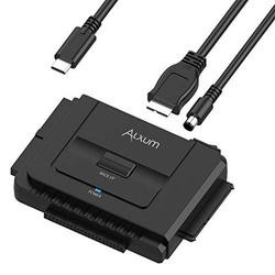 """Alxum SATA IDE to USB-C 3.0 Adapter, Hard Drive Connector for 2.5"""" 3.5"""" SATA & IDE SSD HDD Hard Disk Drive, Support One-Touch Backup and Data Recovery Function, with Power Supply & 30CM USB-"""