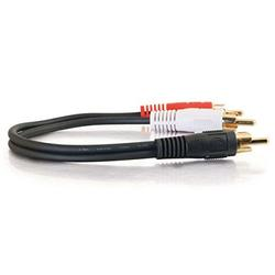 C2G 03161 Value Series One RCA Mono Male to Two RCA Stereo Male Y-Cable, Black (6 Inches)