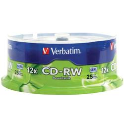 Verbatim CD-RW 700MB 2X-12X Rewritable Media Disc - 25 Pack Spindle