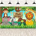 Jungle Animal Theme Birthday Party Decorations, Extra Large Fabric Safari Animal Elements Printed Happy Birthday Backdrop Funny Cartoon Forest Banner Background for Birthday Party Supplies, 6 x 3