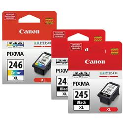Canon CL-246XL COLOR Ink Cartridge & Two PG-245XL Black Cartridge Fine Ink Cartridge